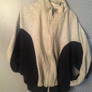 VTG Active Wear Gray Jacket Full Zip Pocket Fleece